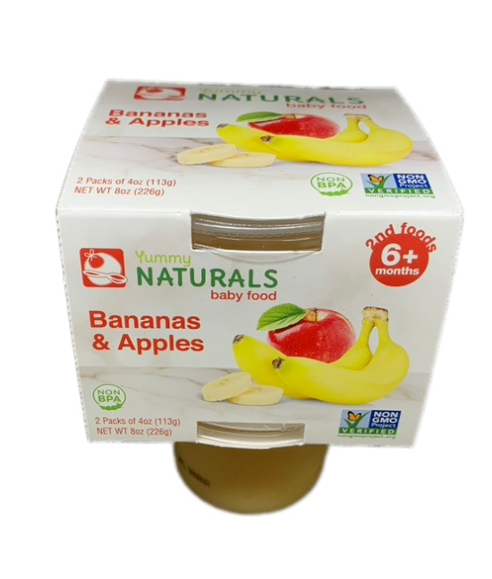 Yummy Naturals baby food Bananas and apples