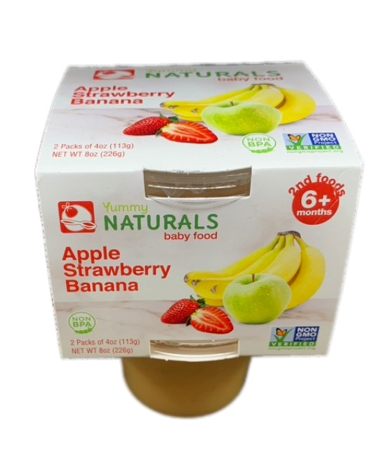 Yummy Naturals baby food Apple Strawberry banana