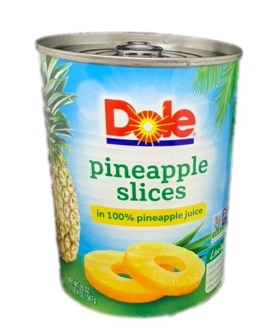 Dole Pineapple slices in 100 % pineapple juice can