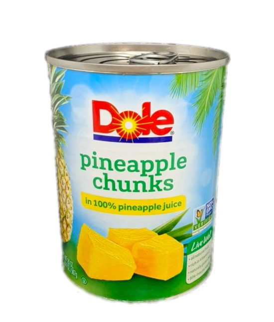 Dole Pineapple chunks in 100 % pineapple juice can