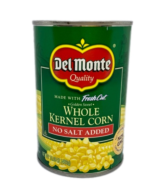 Del Monte whole kernel corn no salt added can