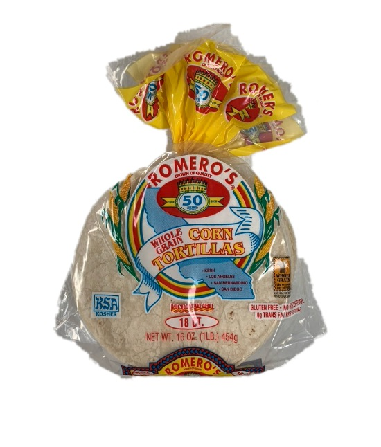 Romero's whole grain corn tortillas